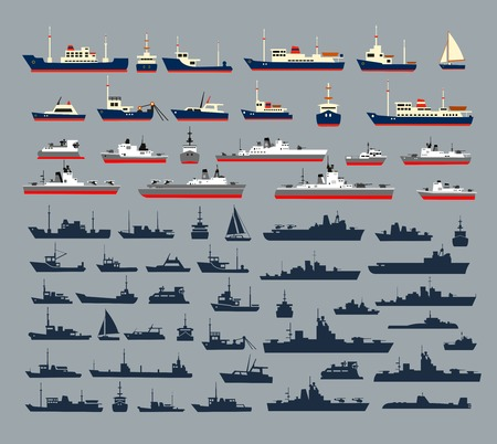 Set of silhouettes of ships, consisting of numerous warships, naval vessels, yachts and cruise ships, ships and pleasure boats for a cruise.