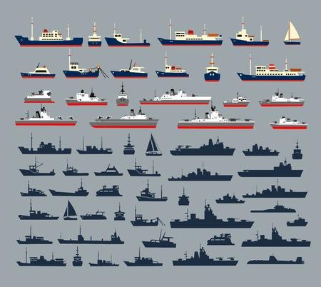 Reeks silhouetten van schepen, bestaande uit een groot aantal oorlogsschepen, marineschepen, jachten en cruiseschepen, schepen en pleziervaartuigen voor een cruise. Stock Illustratie