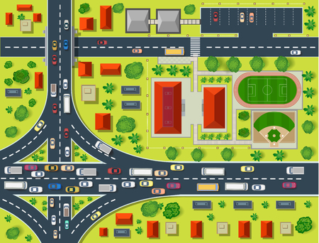 road block: Map of a top view from the rooftops, city streets, trees and highways