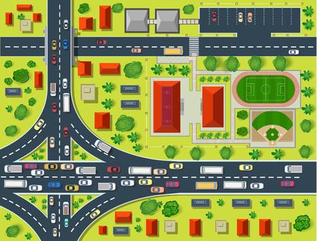 tree top view: Plan d'une vue de dessus les toits, les rues de la ville, les arbres et les autoroutes Illustration