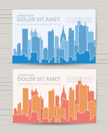 虹空雲の都市の風景。背景のベクトル図  イラスト・ベクター素材