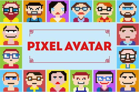 network design: Icons in style pixel graphics of male and female faces. It can be used as an avatar for profiles on social networks. Illustration