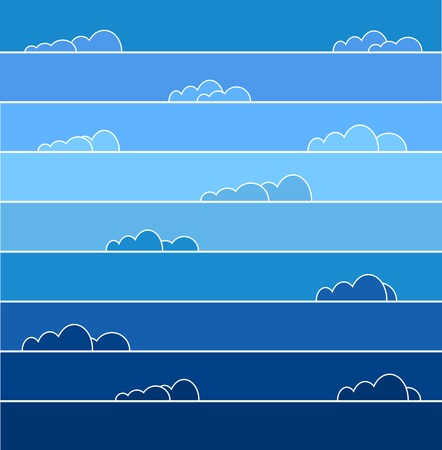 Rainbow colored sky with clouds. Vector illustration for background