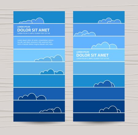 horizont: Rainbow colored sky with clouds. Vector illustration for background