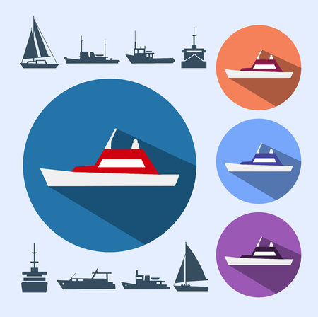 shipping: Icons ships, consisting of naval ships, navy vessels, yachts and cruise ships, ships and pleasure boats for a cruise.