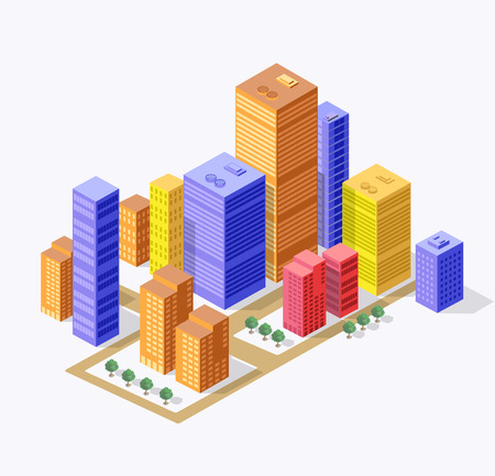 tridimensional: Business isometric city with many different houses, offices, skyscrapers, supermarkets and streets with traffic.