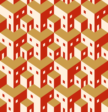 construction plan: Seamless geometric repeating pattern of the citys buildings, roofs, houses, windows and doors.