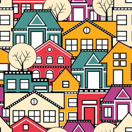Seamless city pattern. The structural pattern of the urban subject of repeated homes.