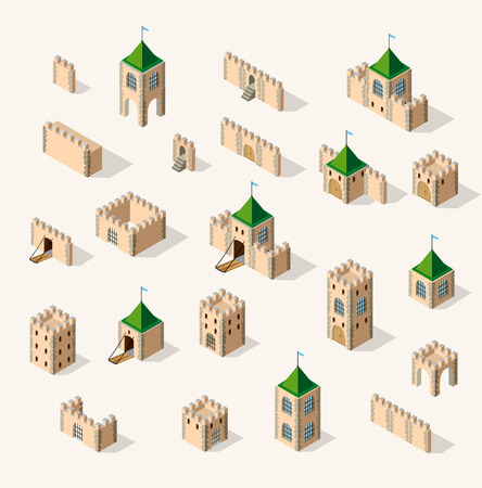fortified: Medieval fortress fort. Isometric view vintage medieval fortress fort