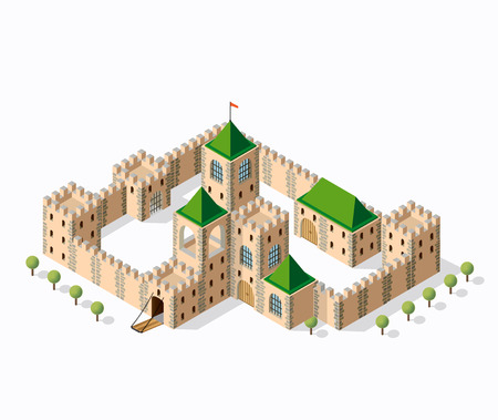 fortification: Medieval fortress fort. Isometric view vintage medieval fortress fort