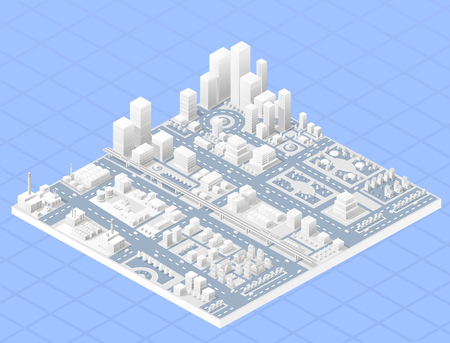 city view: Vector isometric center of the city on the map with a large number of buildings, skyscrapers, factories, parks and vehicles. Isometric view of a large modern city business.