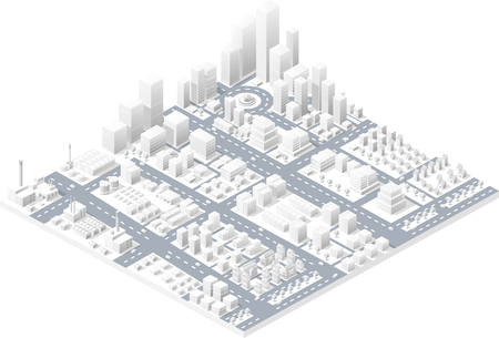 Vector isometric center of the city on the map with a large number of buildings, skyscrapers, factories, parks and vehicles. Isometric view of a large modern city business.