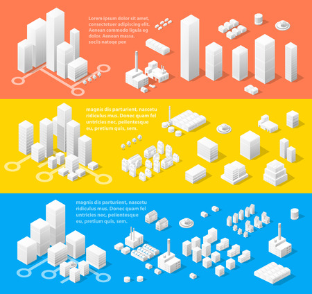 business buildings: Vector isometric center of the city on the map with a large number of buildings, skyscrapers, factories, parks and vehicles. Isometric view of a large modern city business.