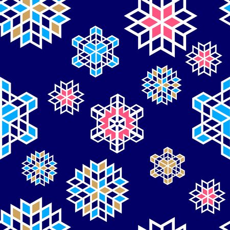 Christmas snowflake pattern colorful background. Seamless repeating pattern. Illusztráció