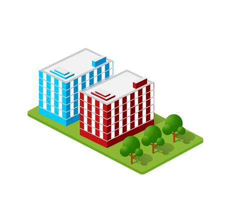 Isometric houses, town houses, skyscrapers and streets made in perspective projection for design sites, business portals and real estate agencies