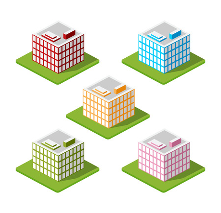 town houses: Isometric houses, town houses, skyscrapers and streets made in perspective projection for design sites, business portals and real estate agencies