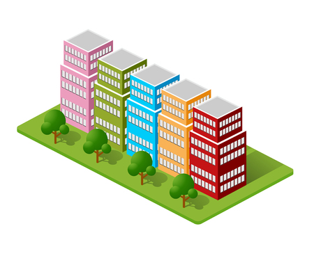 portals: Isometric houses, town houses, skyscrapers and streets made in perspective projection for design sites, business portals and real estate agencies