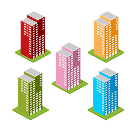 office building: Isometric houses, town houses, skyscrapers and streets made in perspective projection for design sites, business portals and real estate agencies