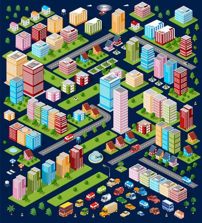 Un grande insieme di oggetti urbani isometriche. Un insieme di urbani edifici, grattacieli, case, supermercati, strade e vie