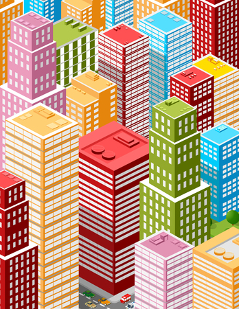 city building: Illustration of a large business city of skyscrapers, offices, shops and streets.