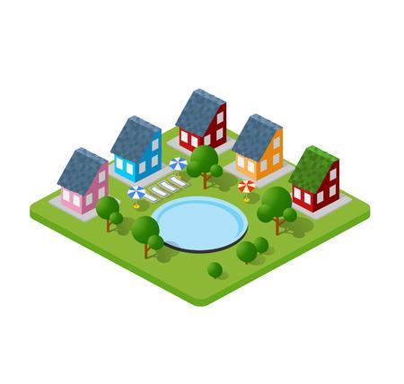 Dreidimensionale Stadtgebäude, Reihenhäuser, Wohnungen, Supermärkte, Straßen und Wege.