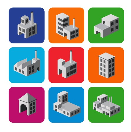built: Set of icons isometric house, city symbols and icons. City icons.
