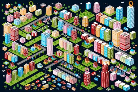 Eine große Menge von isometrischen städtischen Objekten. Eine Reihe von städtischen Gebäuden, Wolkenkratzer, Häuser, Supermärkte, Straßen und Wege.
