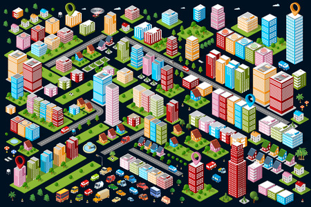 A large set of isometric urban objects. A set of urban buildings, skyscrapers, houses, supermarkets, roads and streets.