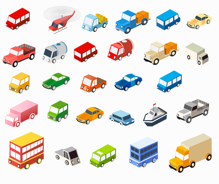 The isometric flat cars  set of vehicles for creativity and design