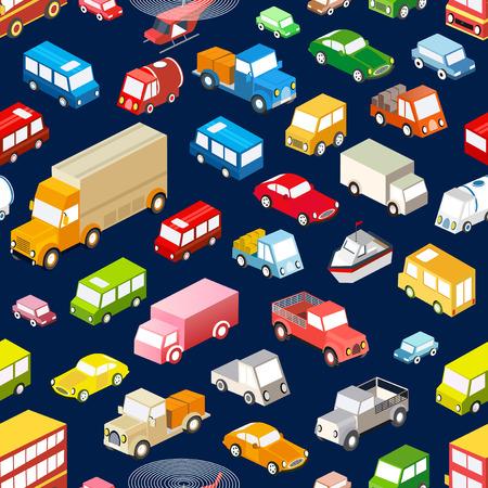 シームレスな繰り返し様々 な等尺性の車、車、バスおよびトラックの背景