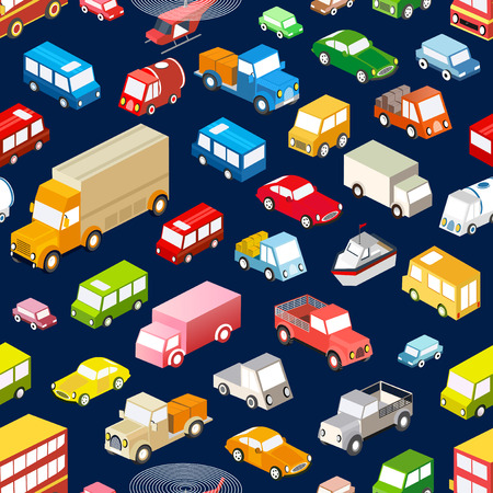 Seamless repeating background of various isometric vehicles, cars, buses and trucks