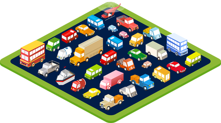 road traffic: The isometric flat cars  set of vehicles for creativity and design