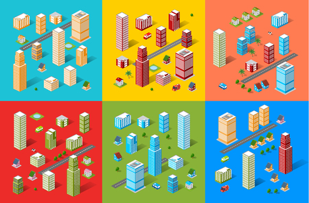 creation kit: Isometric city map road, trees and building home elements set isolated vector illustration.