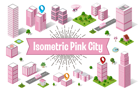 A large pink city of isometric urban objects. A set of urban buildings, skyscrapers, houses, supermarkets, roads and streets.