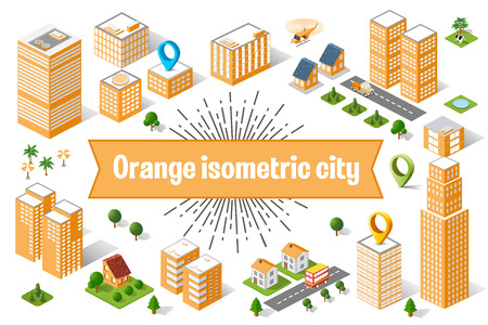A large orange city of isometric urban objects. A set of urban buildings, skyscrapers, houses, supermarkets, roads and streets. Illustration