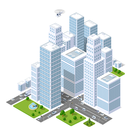 A large city of isometric urban objects. A set of urban buildings, skyscrapers, houses, supermarkets, roads and streets.