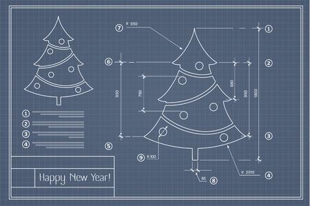 Albero di Natale sul modello blu disegno della cartolina di Capodanno