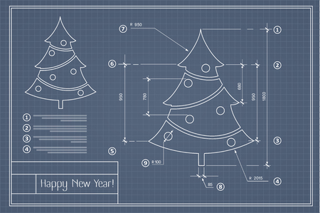 Christmas tree on New Year blue postcard drawing blueprint Ilustracja