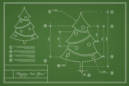 arbre de Noël sur le Nouvel An carte postale bleu dessin modèle