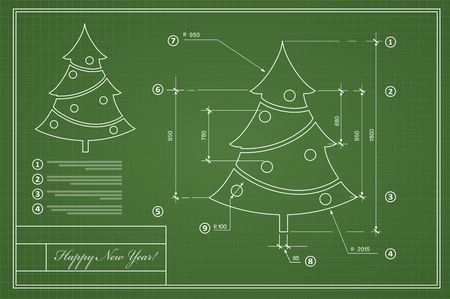 Kerstboom op blauwdruk de nieuwe prentbriefkaarstekening van het Nieuwjaar