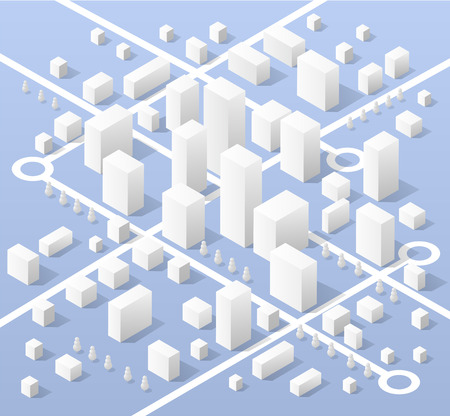 city street: City isometric map, consisting of skyscrapers of the city street and road transport in white