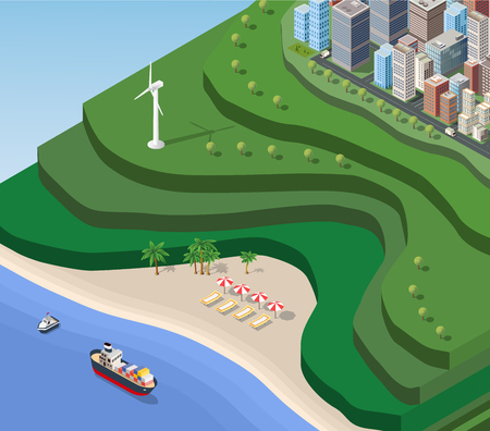 coast: Beach Sea isometric with the ship, the mountains and the city
