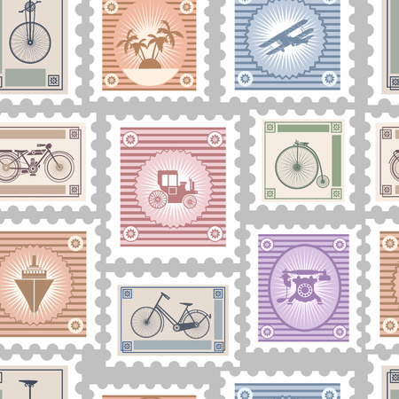 postage stamps: Seamless repeating pattern consisting of postage stamps on the theme of travel and transportation