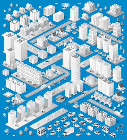 urban building: A large set of isometric urban objects. A set of urban buildings, skyscrapers, houses, supermarkets, roads and streets.