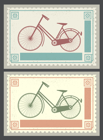 historical romance: Retro postage stamps on the theme of transport and bicycles Illustration