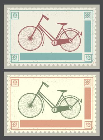 Retro postzegels op het thema van het vervoer en fietsen Stock Illustratie
