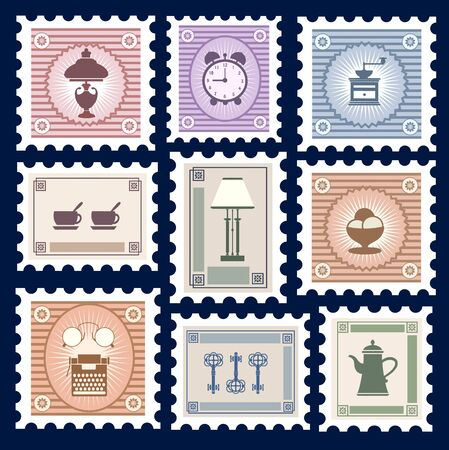 postage stamps: Retro postage stamps on the theme of homes Things Illustration