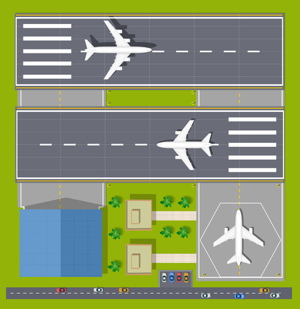 overhead view: Overhead   point of view airport with all the buildings, planes, vehicles and airport runway