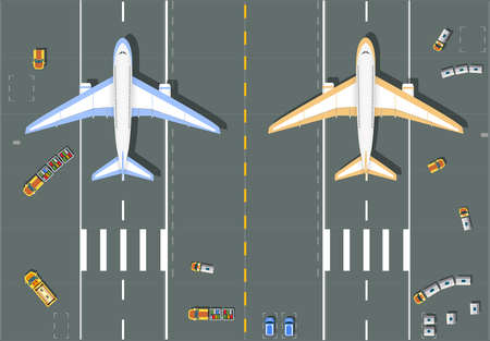 overhead: Overhead   point of view airport with all the buildings, planes, vehicles and airport runway