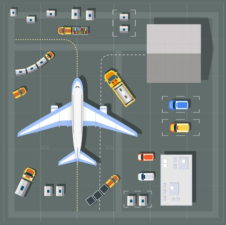 point of view: Overhead   point of view airport with all the buildings, planes, vehicles and airport runway